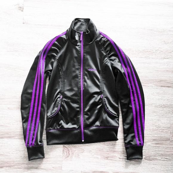 ADIDAS 3 three stripes purple black track jacket m